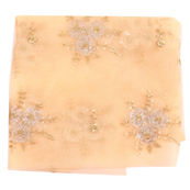 Cream and Golden Flower Embroidery Net Fabric-60890