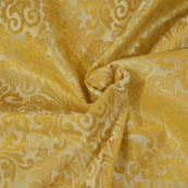Cream and Golden Paisley Shape Brocade Silk Fabric-8049