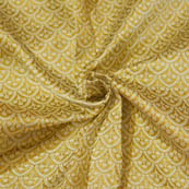 Cream and Golden Unique Pattern Brocade Silk Fabric-8047