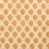 Cream and Golden Zari Floral Pattern Brocade Silk Fabric by the yard