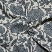 Cream and Gray Flower Design Kalamkari Rayon Fabric-15024