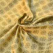 Cream and Gray Small Flower Design Brocade Silk Fabric-8188