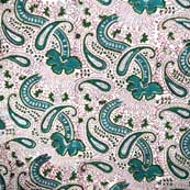 Cream and Green Paisley Unique Patterns Cotton Fabric by the Yard