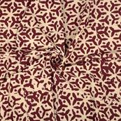 Cream and Maroon Cotton Block Print Fabric-14358