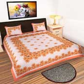 Cream and Orange Floral print Bedsheet with 2 Pillow Covers