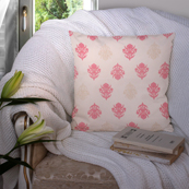 Cream and Pink Cotton Cushion Cover-35024