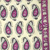 Cream and Pink Paisley Block Printed Cotton Fabric
