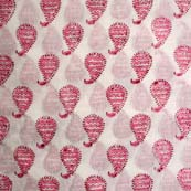 Cream and Pink Paisley Pattern Indian Block Print Fabric by the yard