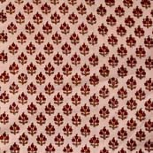 Cream and Red Flower Block Print indian Cotton Fabric by the yard