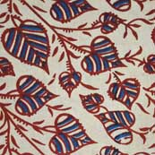 Cream and Red Tree Plant Print Cotton Fabric by the Yard