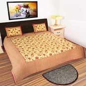 Cream and Red leaves design printed Bedsheet with 2 Pillow Covers