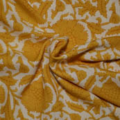 Cream and Yellow Flower Pattern Kalamkari Rayon Fabric-15002