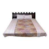 Cream and Yellow Leaf Printed Cotton Double Bed Sheet-0G46