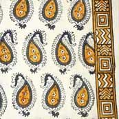 Cream and yellow Paisley Block Printed Cotton Fabric