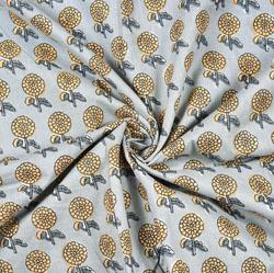 Cyan Beige Floral Block Print Cotton Fabric-28402