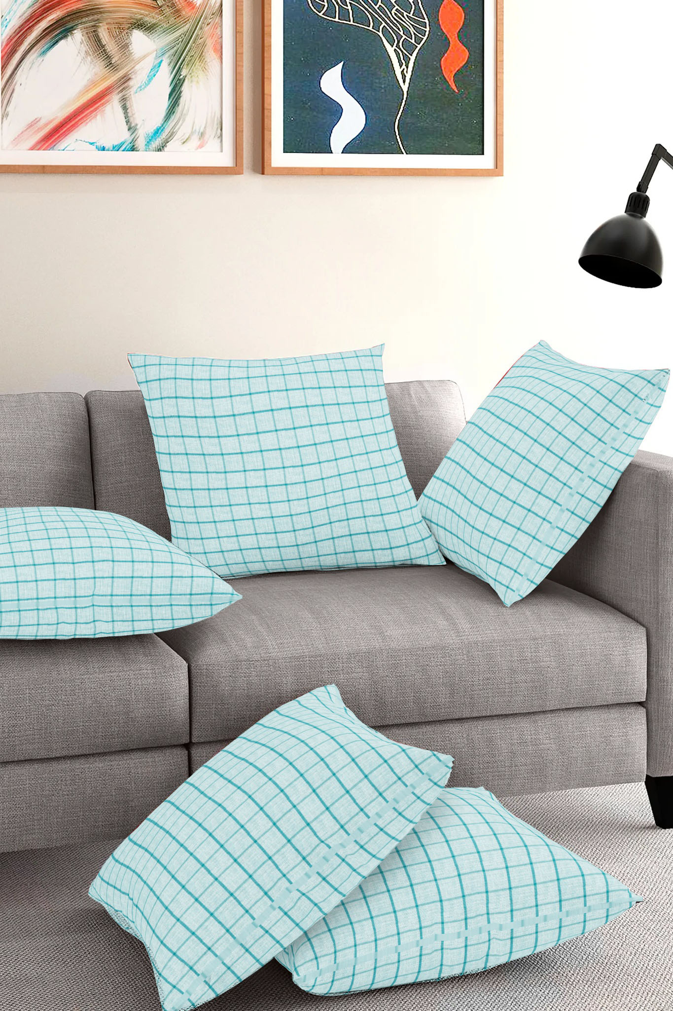 Set of 5-Cyan Blue Cotton Cushion Cover-35403-16x16 Inches