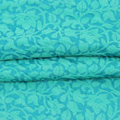 Cyan Blue Floral Jacquard Brocade Silk Fabric-9133