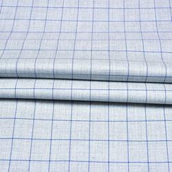 Cyan Blue Checks Wool Fabric-90230