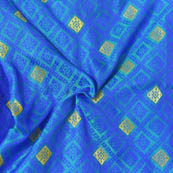Cyan-Blue and Golden Square Design Brocade Silk Fabric-8012