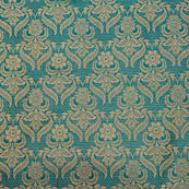 Cyan Blue flower shape golden silk brocade fabric-4976