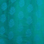 Cyan Blue flower shape soft brocade silk fabric-5063