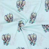 Cyan Brown Elephant Digital Print Cotton Slub Fabric-15114
