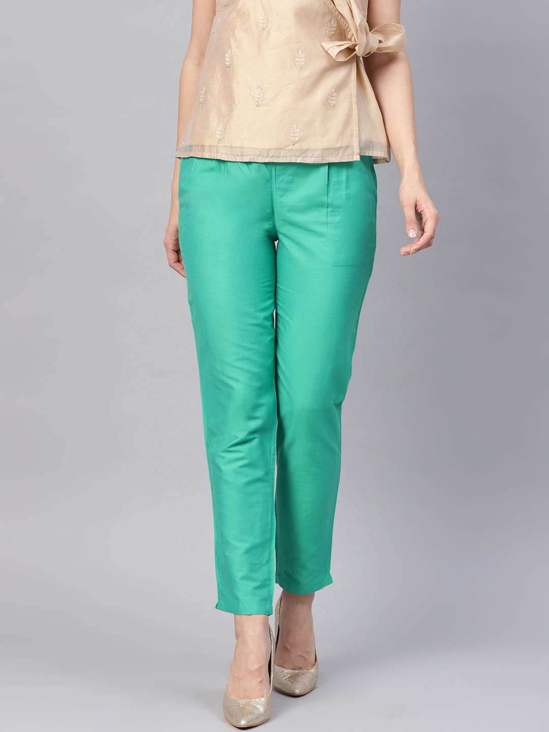 Cyan Cotton Silk Ankle Pant-34269