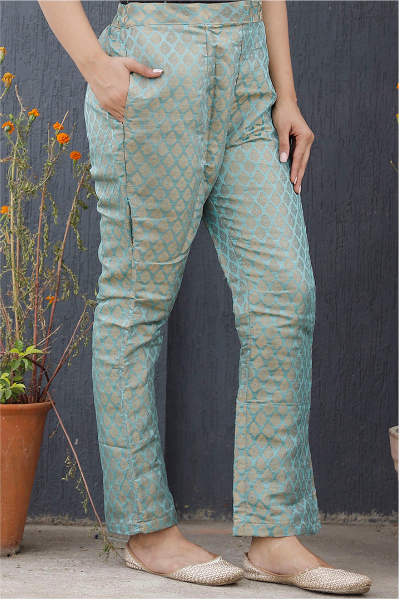 Cyan Golden Brocade Silk Ankle Women Pant-34210