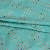 Cyan Golden Checks Brocade Silk Fabric-9238