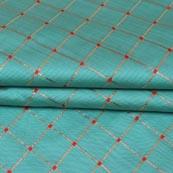 Cyan Golden Checks Zari Brocade Silk Fabric-9293