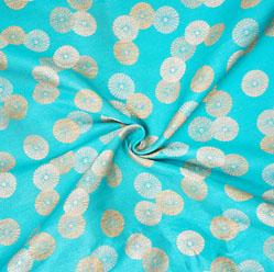Cyan Golden Circle Banarasi Silk Fabric-12585