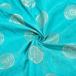 Cyan Golden Circle Brocade Silk Fabric-12492