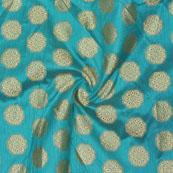 Cyan Golden Circle Jacquard Brocade Silk Fabric-9155