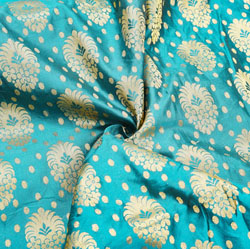 Cyan Golden Floral Brocade Silk Fabric-12478