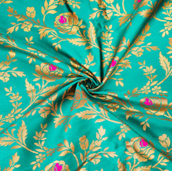Cyan Golden Floral Brocade Silk Fabric-12606