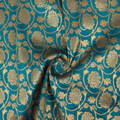 Cyan Golden Floral Brocade Silk Fabric-9113
