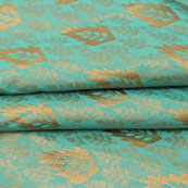 Cyan Golden Floral Jacquard Brocade Silk Fabric-9119