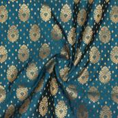 Cyan Golden Floral Jacquard Brocade Silk Fabric-9162