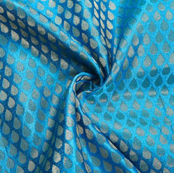 Cyan Golden Paisley Brocade Silk Fabric-12278