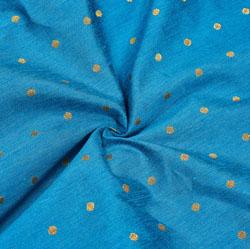 Cyan Golden Polka Zari Taffeta Silk Fabric-12307