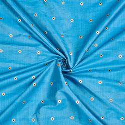 Cyan Golden Polka Zari Taffeta Silk Fabric-12664
