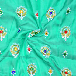 Cyan Golden and Green Floral Silk Embroidery Fabric-19414