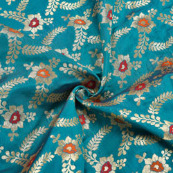Cyan Golden and Red Floral Brocade Silk Fabric-12241