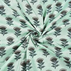 Cyan Green Floral Block Print Cotton Fabric-28404