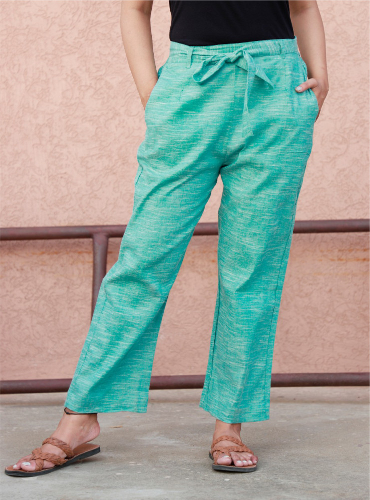 Cyan Linen Slub Silk Women Pant with Loose Belt-33234