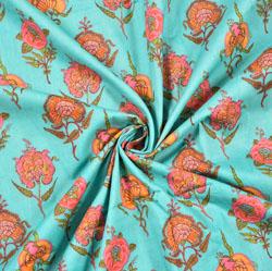Cyan Peach Floral Block Print Cotton Fabric-28448