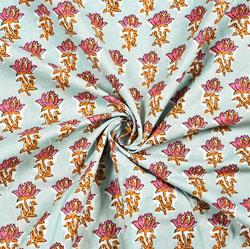 Cyan Pink Floral Block Print Cotton Fabric-28412