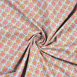 Cyan Pink Floral Block Print Cotton Fabric-28452