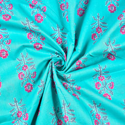 Cyan Pink Floral Block Print Cotton Fabric-28497