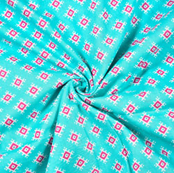 Cyan Pink Floral Block Print Cotton Fabric-28507